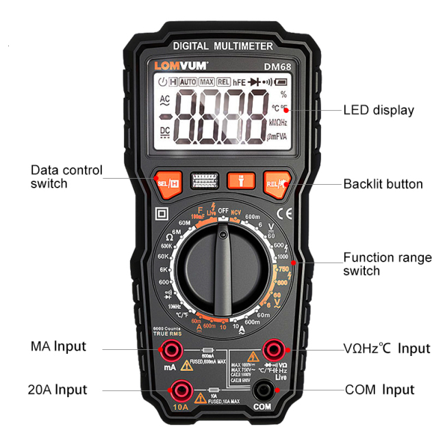 Lomvum 6000 counts electronic multimeter digital auto range