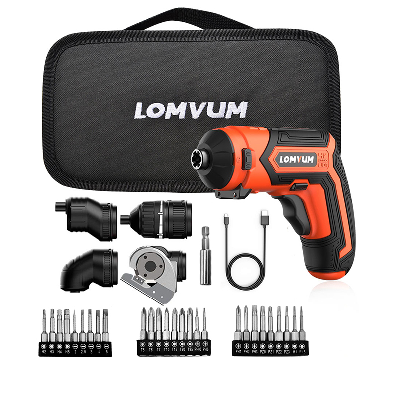 Lomvum 4V LED Light Cordless Portable Mini Electric Screwdriver With 4 Different Adapters set