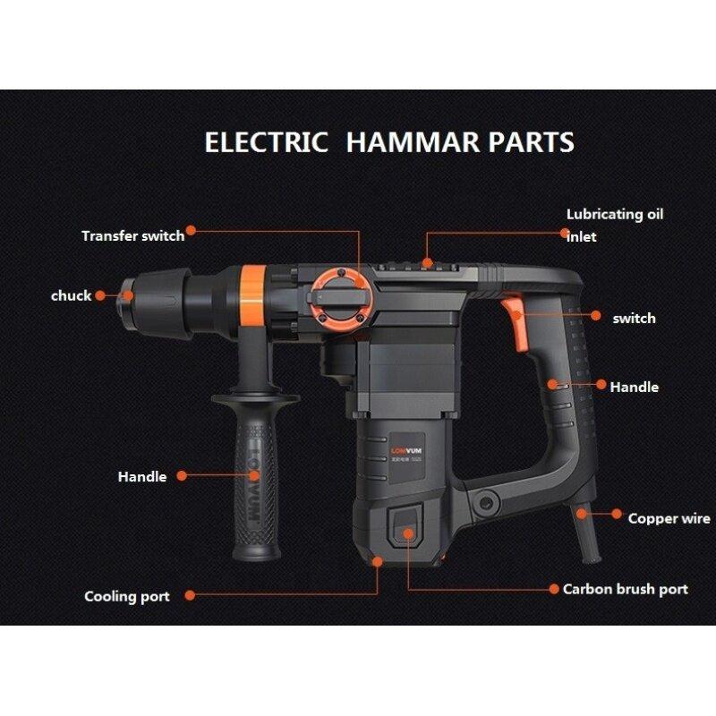 Lomvum Power Tools Multi Function 30MM Electric Demolition Hammer Drill