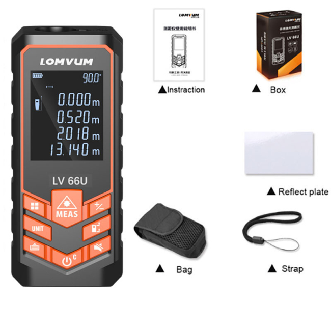 LOMVUM  66U Battery-powered Auto Level Laserr Multifunction Distance Meter Night Vision Laser Rangefinder Tool