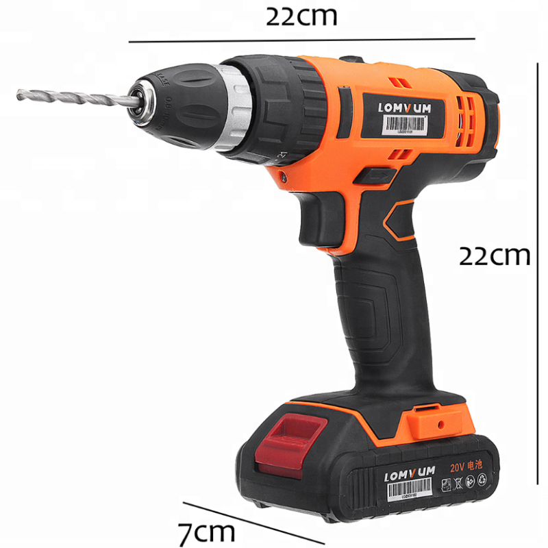 LOMVUM 20V electric rechargeable power impact multi-function cordless drill with lithium battery