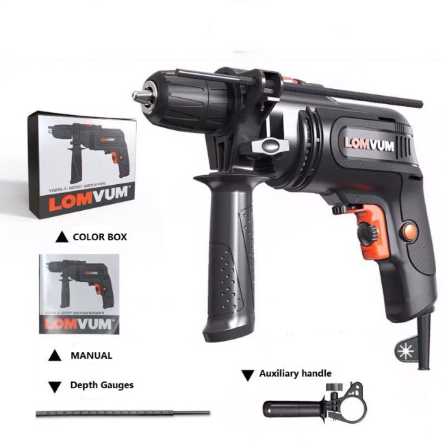 LOMVUM handle high quality professional portable reversible high speed 550W 10mm hammer impact drill machine