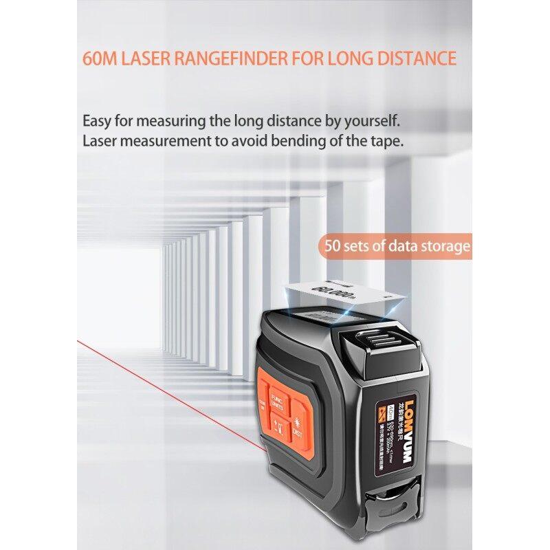 LOMVUM LTM USB Rechargeable  Laser Distance Meter  40/60m Laser Rangefinder 5m Tape LCD Digital Laser Tape