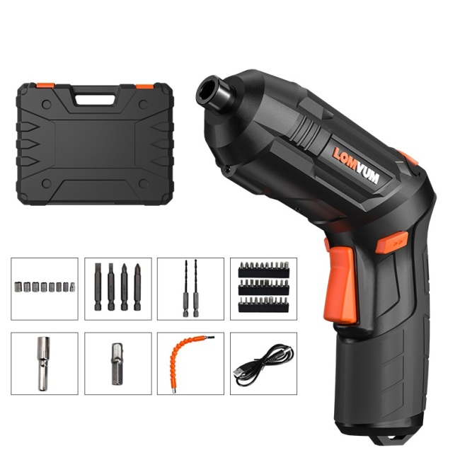Lomvum Black USB charging Multi functional Drill electric Mini cordless screwdriver power screwdriver set