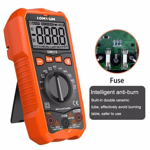 LOMVUM Digital Multimeter NCV HD Backlit Voltage Meter Portable Handheld AC/DC