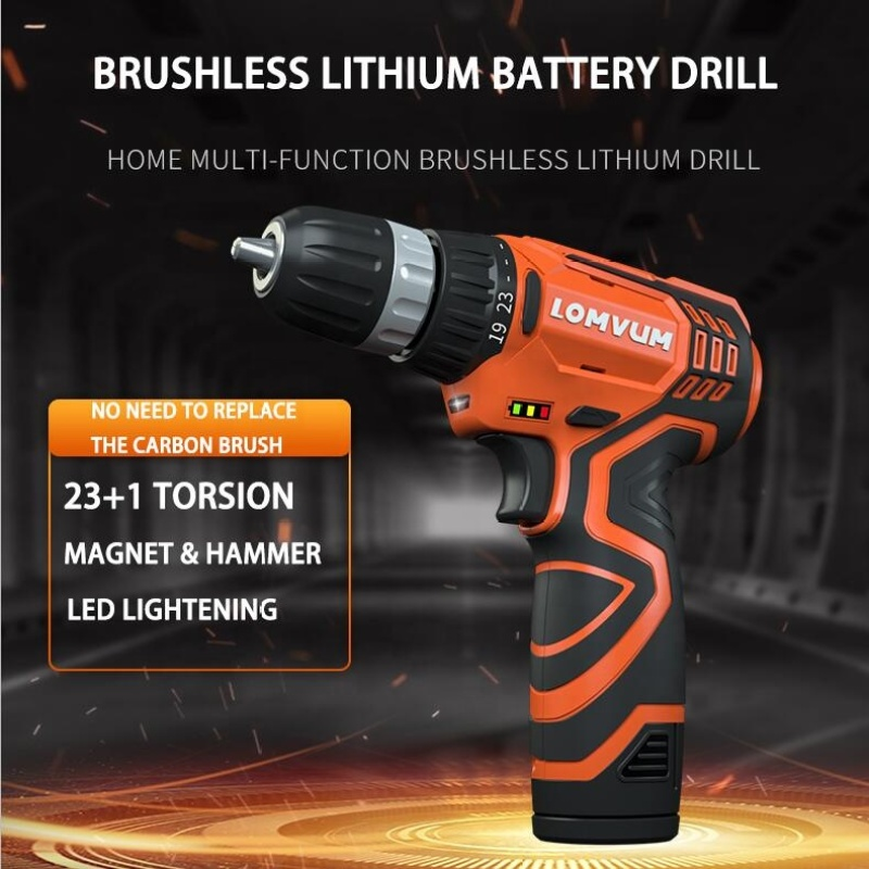 LOMVUM 2 Pieces of 2.0 Ah Lithium Battery Impact Magnet Multi Function Brushless Electric Drill