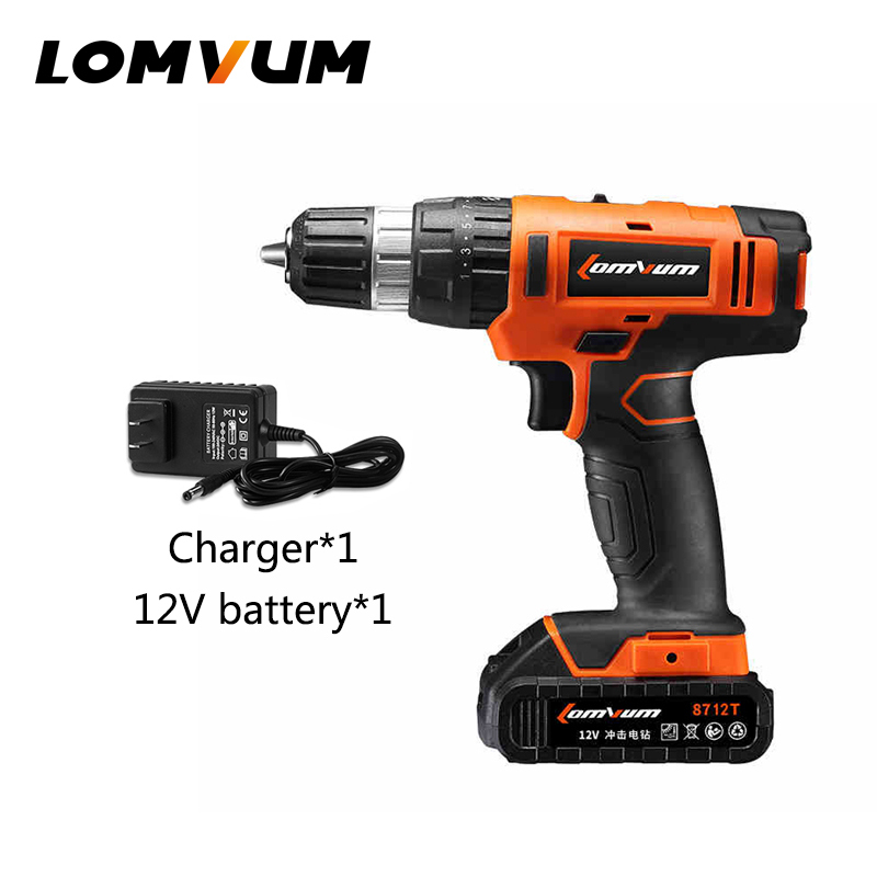LOMVUM 20V electric rechargeable multi-function cordless drill with lithium battery