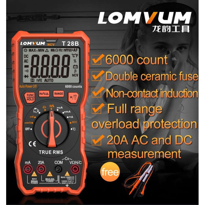 Lomvum digital 6000 counts measurement meter multi tester