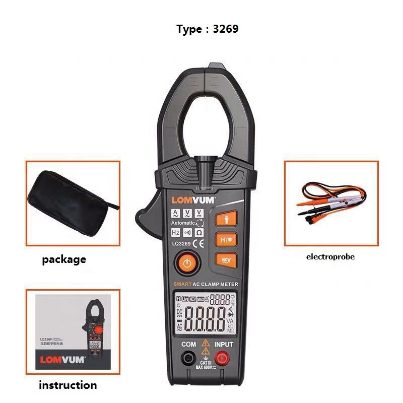 LOMVUM Professional digital clamp meter with test probe and LED light