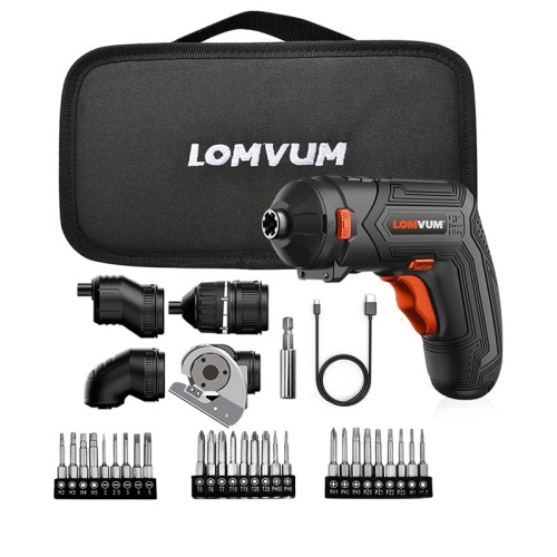 LOMVUM 4V USB Rechargeable Cordless Drill 4 Adapter Changeable Multifunctional Home DIY Screwdriver Mini Electric Drill Set