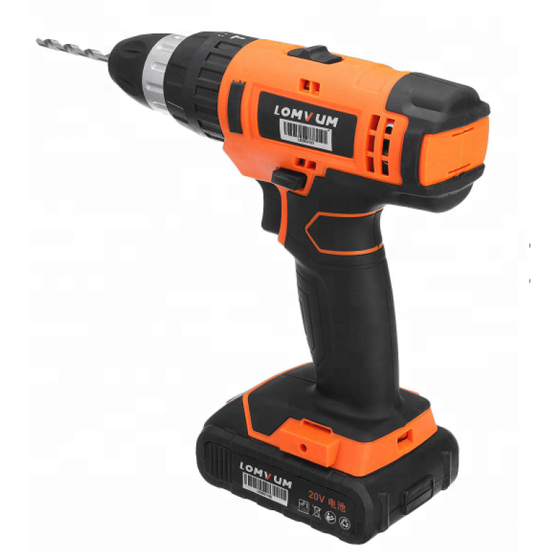 LOMVUM 2 Speeds Trigger Switch Power Tools Battery Drills Cordless Hammer Impact Drill Set