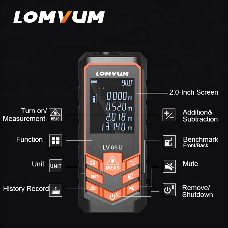 LOMVUM LV66U Electric Level Laser Rangefinder Digital Distance Meters