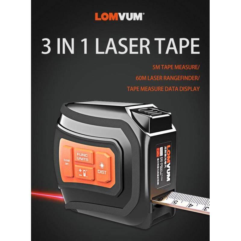 LOMVUM  5m Tape Measure Digital Display 60m Measuring Laser Distance Meter Range Finder 3 in 1 Laser Tape