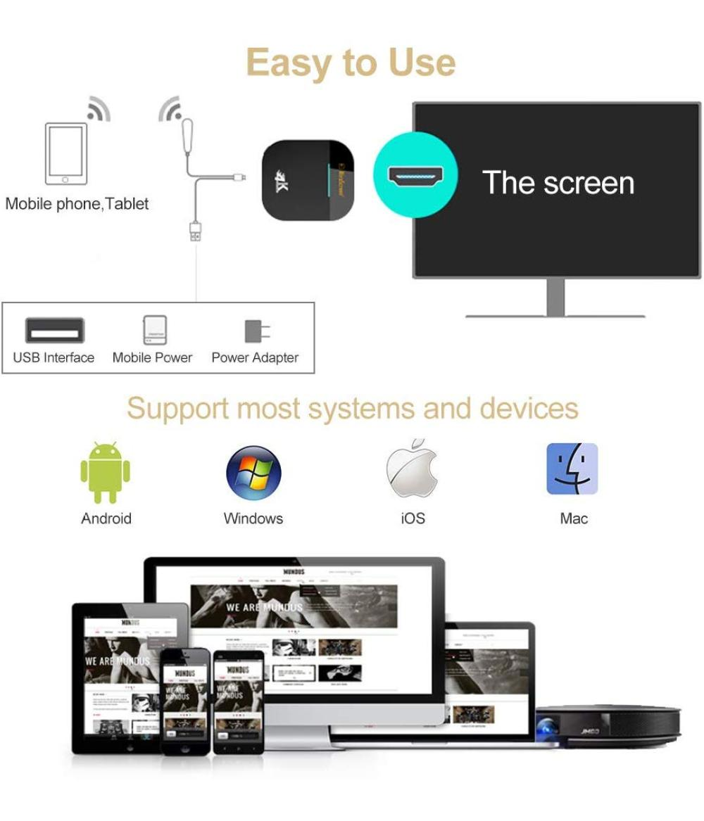 Mirascreen G5 2.4G 5G 4K Wireless HDMI Dongle TV stick WiFi Display HDMI Dongle Receiver 1080P Miracast Airplay Mirroring To HDTV Projector