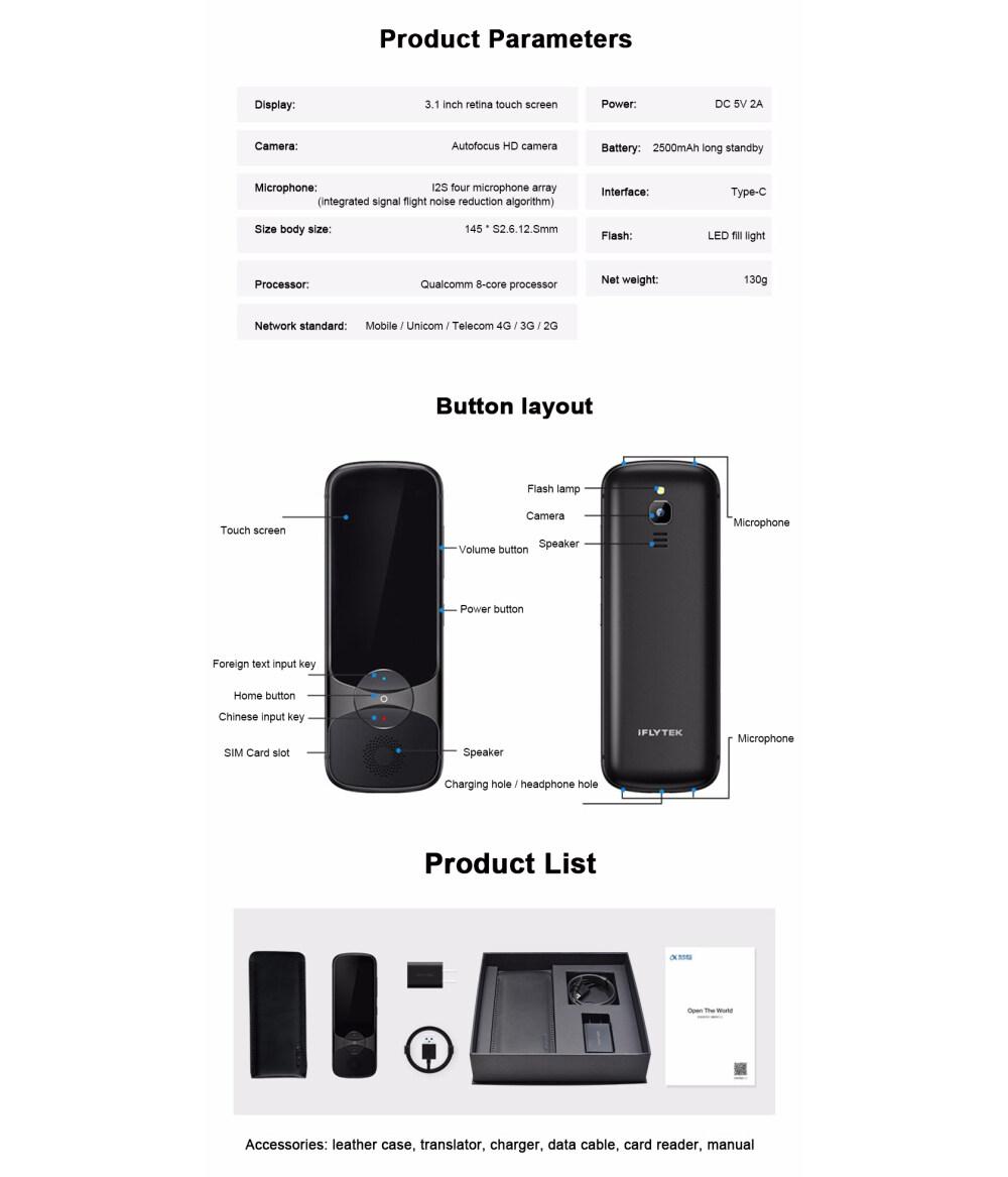 iFlytek 3.0 Easytrans 900 AI Sofortiger Sprachübersetzer Tragbar mit 13-MP-Kameraunterstützung 200 Landessprachen