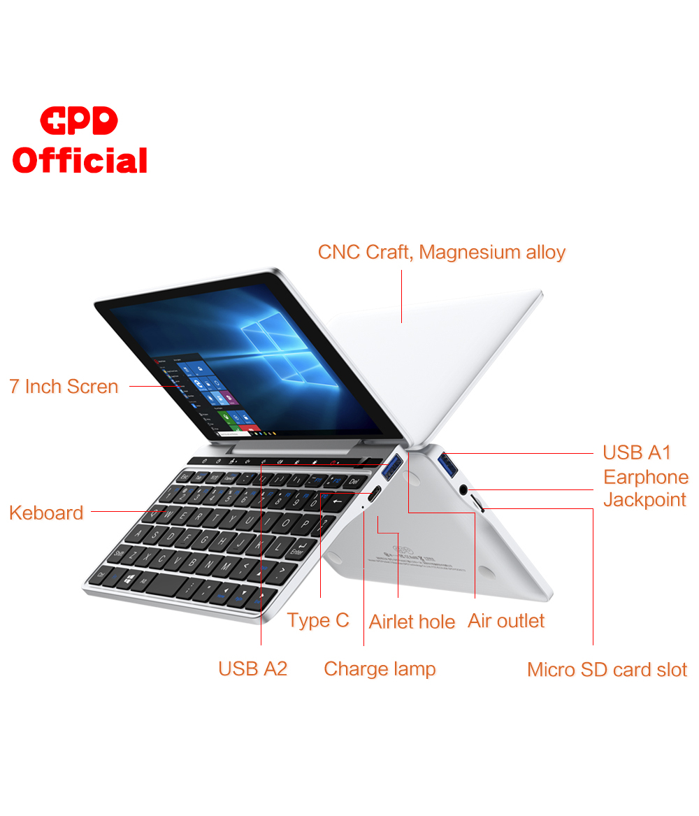 Original New GPD Pocket 2 8GB 256GB 7 Inch Slim Laptop Gaming Mini PC Computer Netbook CPU Intel Celeron 3965Y Windows 10 System