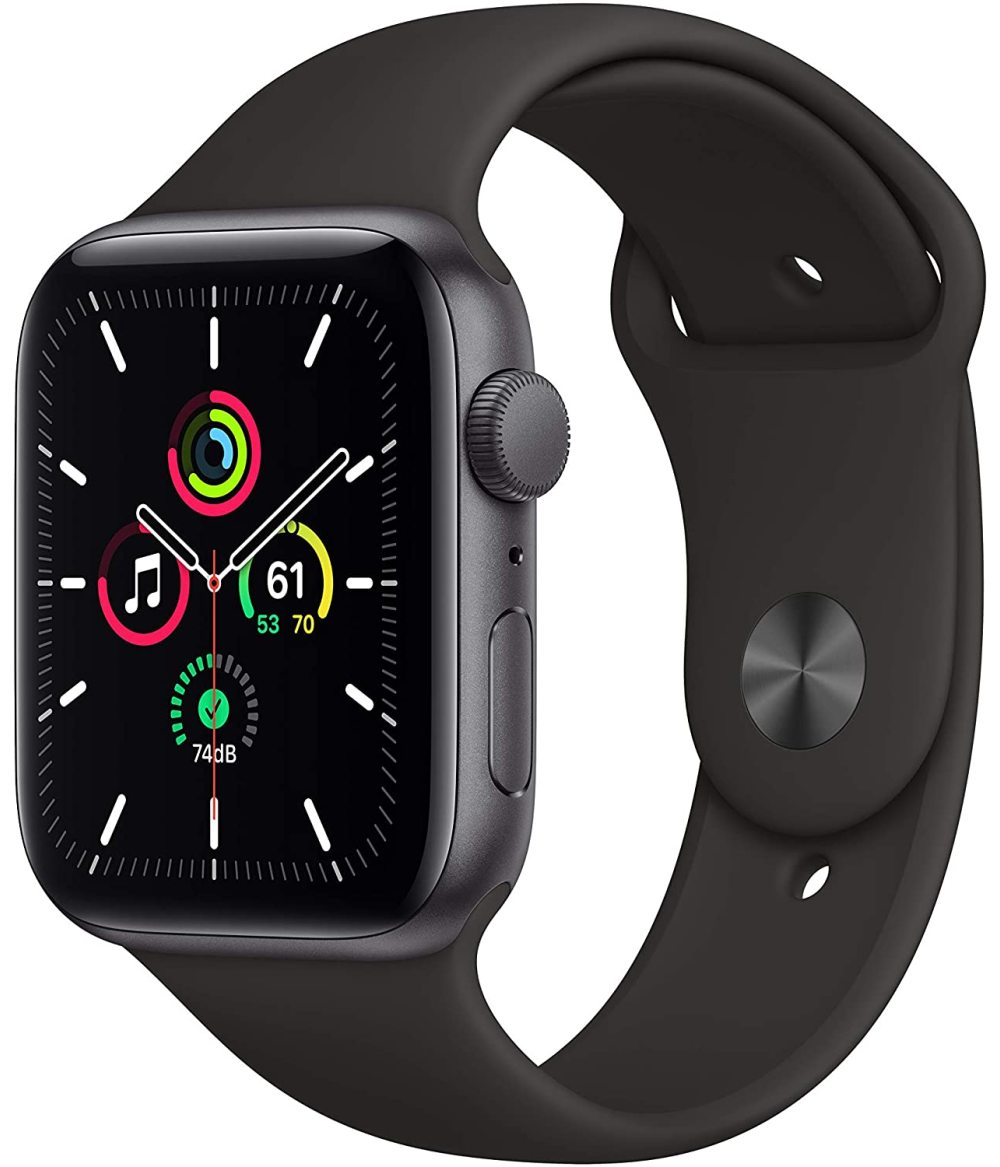 New Apple Watch SE (GPS, 44mm) space gray aluminum metal case; multifunctional heart rate phone business sports watch in stock