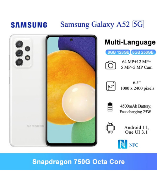 """Global Rom Samsung Galaxy A52 5G Android 6.5"""" FHD+ Snapdragon 750G Octa core Smartphone, Android Cell Phone, Water Resistant, 64MP Camera, 8GB 128GB NFC Black Fast charging 25W Mobile Phones"""