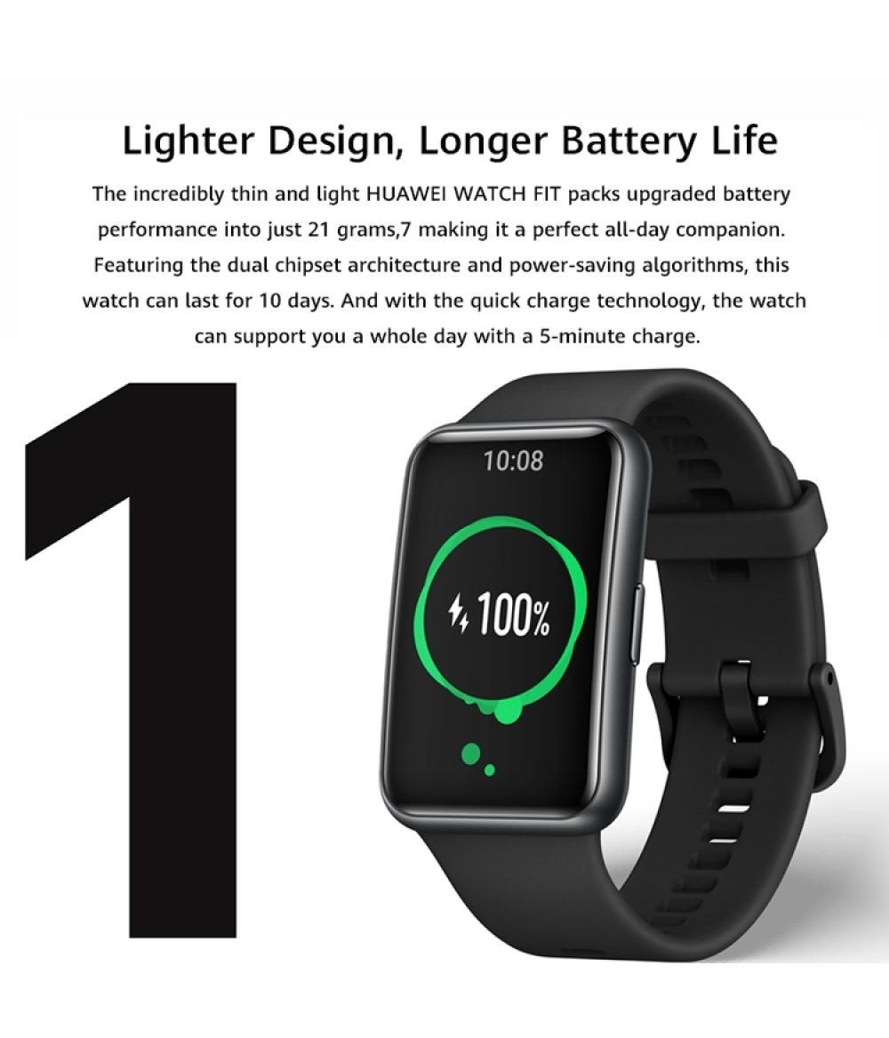 2021 [New Product] HUAWEI WATCH FIT 1.64-inch AMOLED color large screen 10 days battery life + fast charge 96 sports modes 50 meters waterproof Smart heart rate sleep blood oxygen monitoring Obsidian black