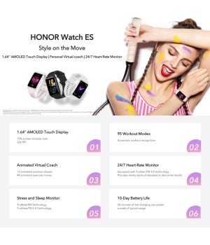 Huawei HONOR Watch ES Smartwatch Meteorite Black 1.64-inch high-definition large screen 10 days battery life + fast charge 95 sports modes 44 training courses 50-meter water resistance Female menstrual cycle management Smart heart rate sleep blood oxygen