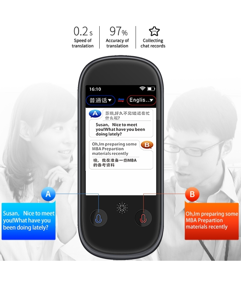 New Trending Product Smart Voice Translator W1 Pro Wifi 3 inch LCD/IPS 2.4G WiFi BT4.0 1GB+8GB Quad-Core 76 Languages Smart Translator