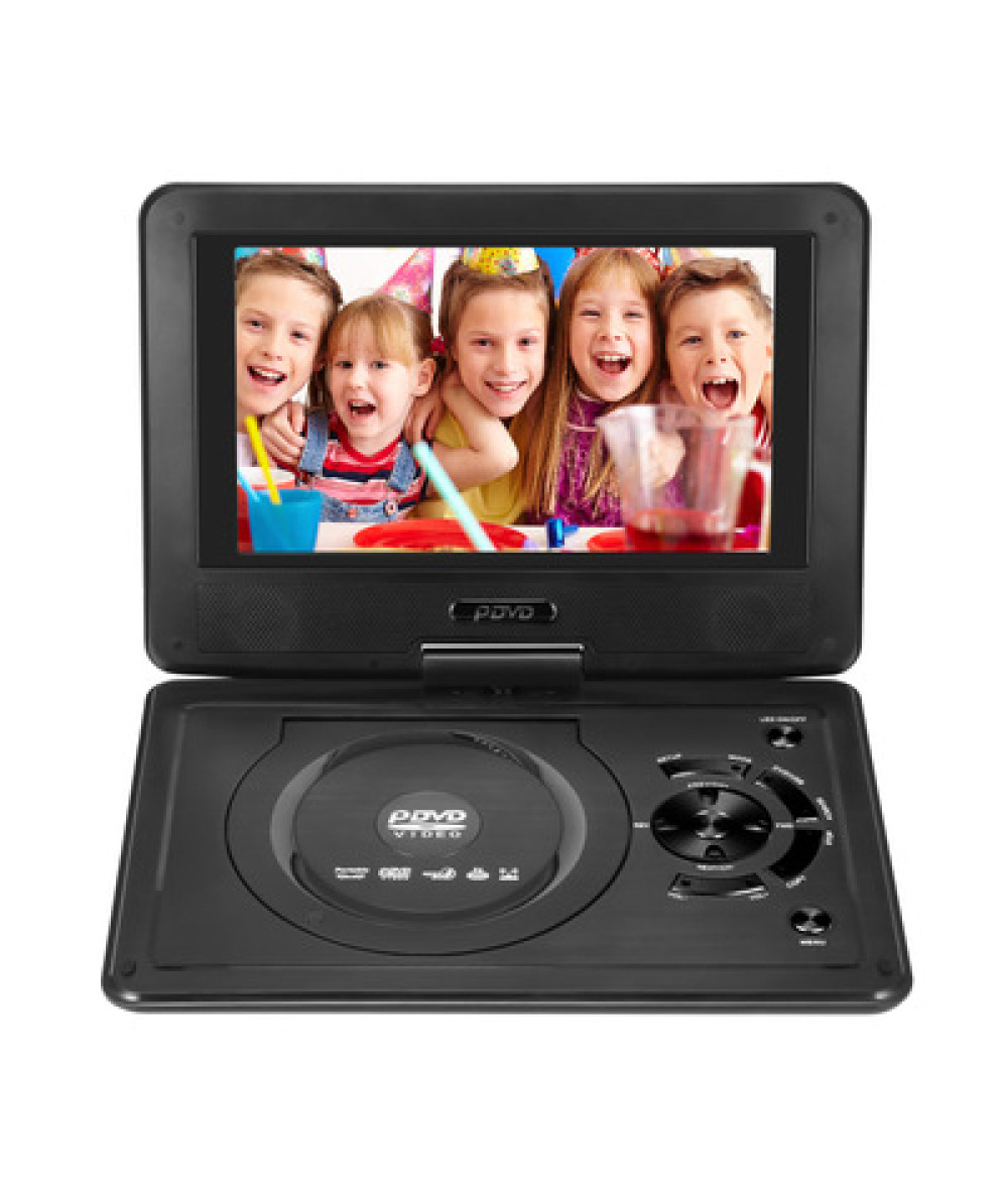 9.8-inch Portable DVD Player Swivel Screen Rechargeable TV Car Charger Gamepad USB SD Cards