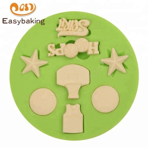 Sports Theme Basketball Hoops Sport Jersey Star Silicone Mold