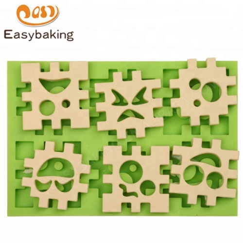 Children's Toys Jigsaw Puzzle pieces (cube) Face shaped Clay Silicone Mold