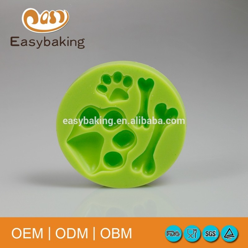 Sample Available Funny Dog Footprints Doggy Bone Silicone Cookies Molds