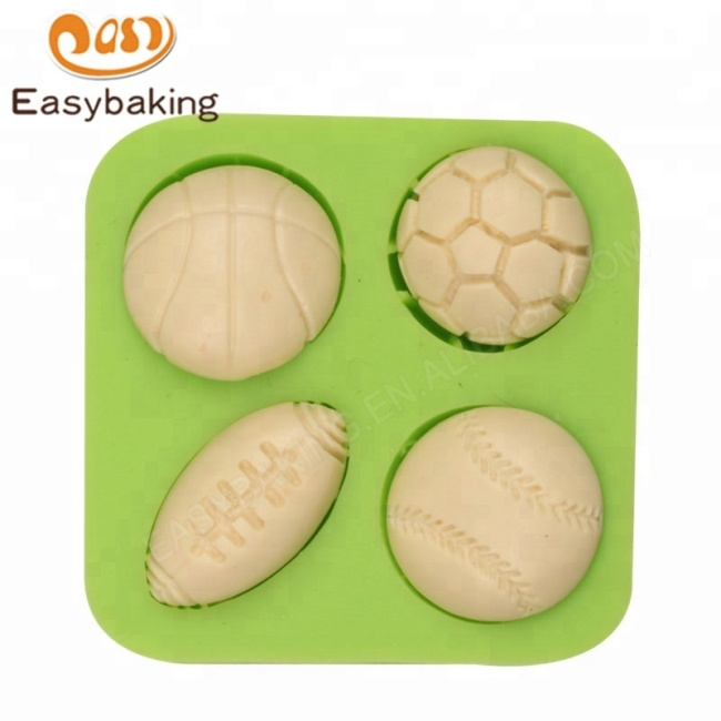 Sports Balls Football Baseball Basketball Rugby Cake Toppers Silicone Mould