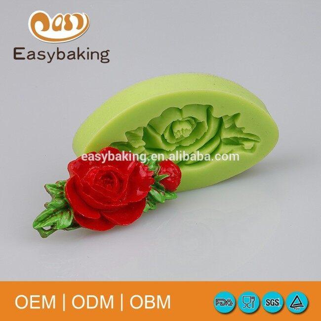Rose leaves wedding cake decoration silicone fondant mold