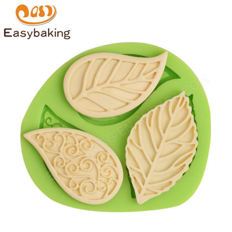 3D liquid leaf Fondant silicone sugar baking mold