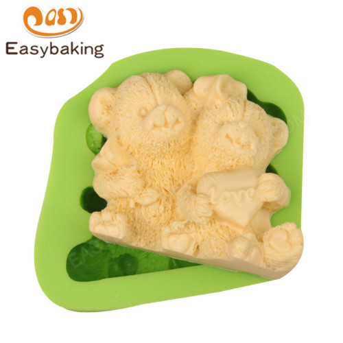 Couple Teddy Bears Fondant Silicone Molds for Cake Decorating
