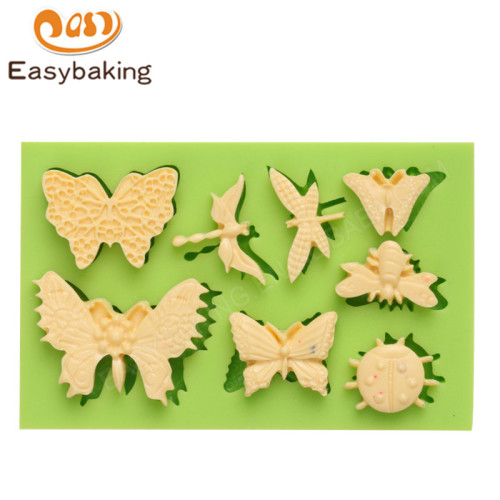 3D butterfly & dragonfly silicone rubber mold for fondant cake decoration