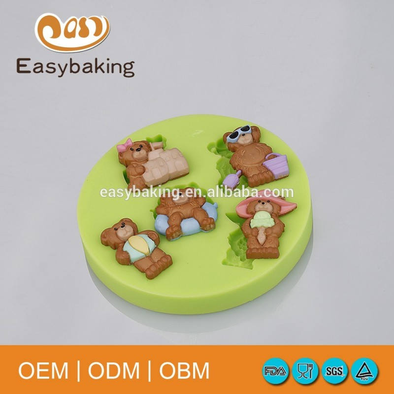 Jenny Bakery Teddy Bear Silicone Molds For Cake Decorations Clay Chocolate Candy Biscuits