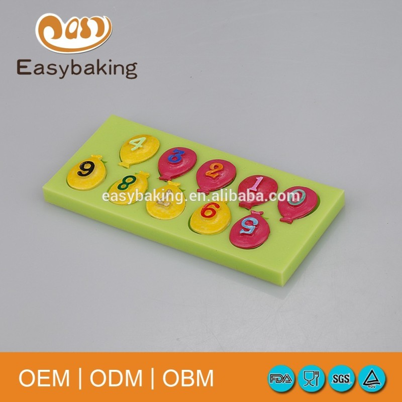 Balloon shape number candle silicone mold