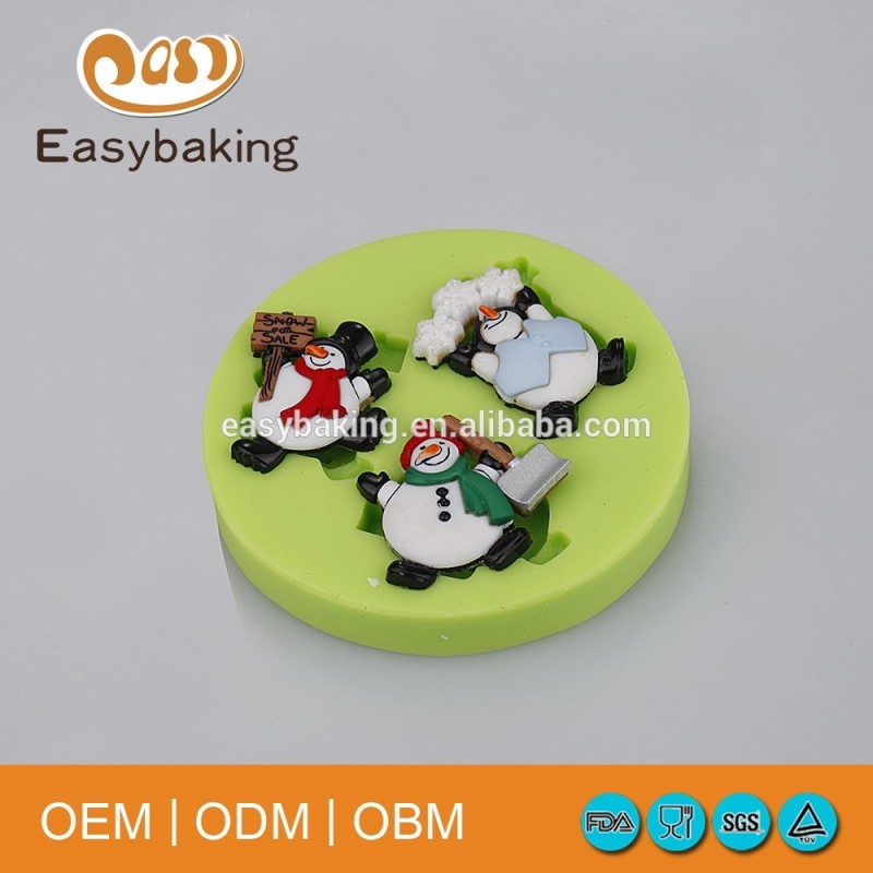Christmas theme snowmen silicone for gypsum mold