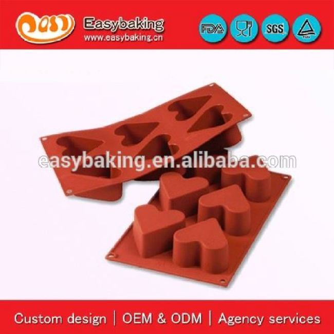 6 Cavities heart shape baking cake silicone mold