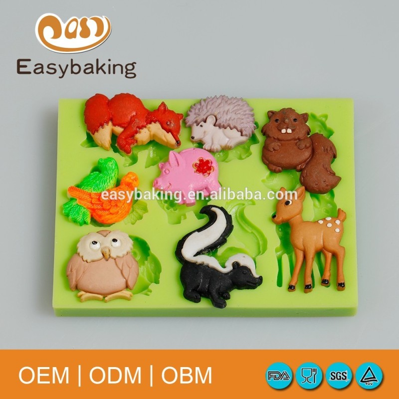 Animal Series Owl Pig Squirrel Hedgehog Fox Fawn Cake Decorate Silicone Mold