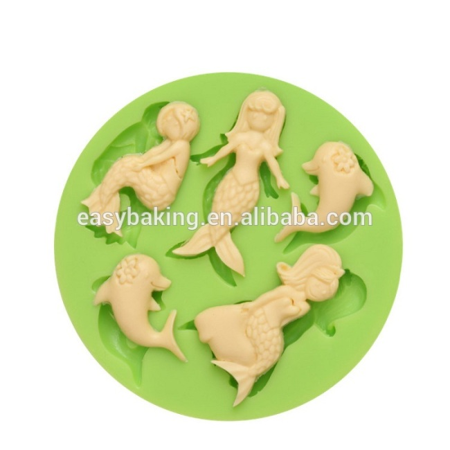 2017 Amazon beautiful mermaid silicone pancake mold biscuits mould