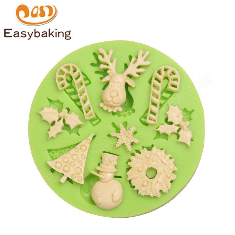 Christmas series elk/Candycane/Christmas tree shape Silicone cake mold decoration