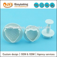 Cute SGS approval sweet strawberry shape cookie cutter stamp fondant cake baking tools