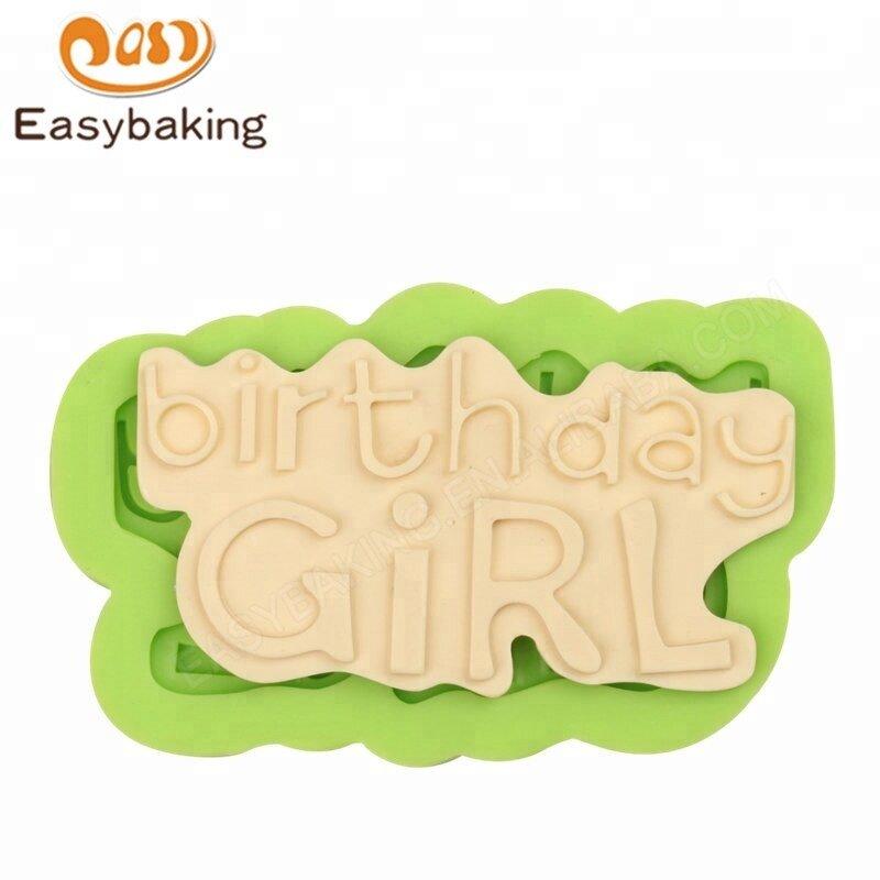 OEM Birthday Girl Letter Silicone Fondant Cake Decoration Mold