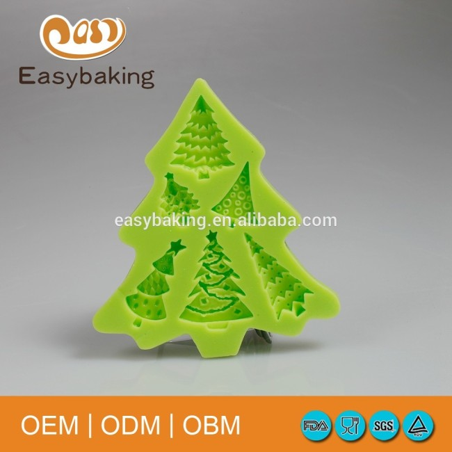 Christmas Trees Cup Cake Decoration Silicone Mold For Pastry