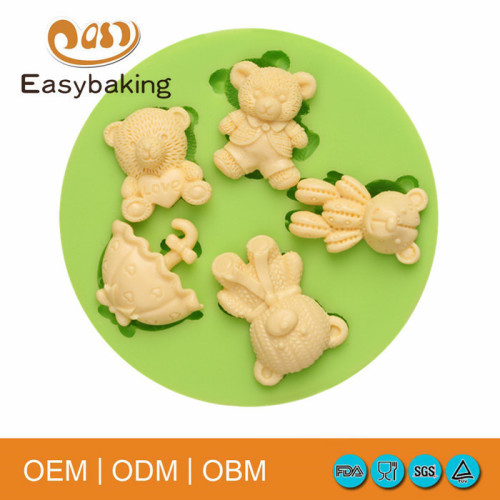 High quality bear shapead cup cake fashion silicone molds concrete