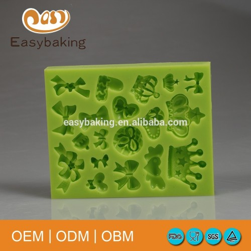 New Arrival Imperial Crown Shaped And Bow 3D Silicone Cake Fondant Mold Cupcake Decoration Tools