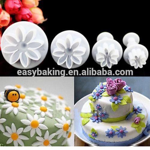 Fondant cake decorating gumpaste 4pcs/set daisy marguerite plunger cutter