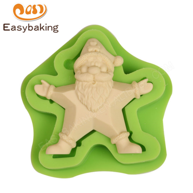 2017 NEW Arrival Christmas Star Silicone Mould Standing Santa Snowman Rudolph Polymer Clay Tools