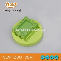 Lowest Price Vintage Baroque Picture Frame Mirror Silicone Moulds For Cake Decorating