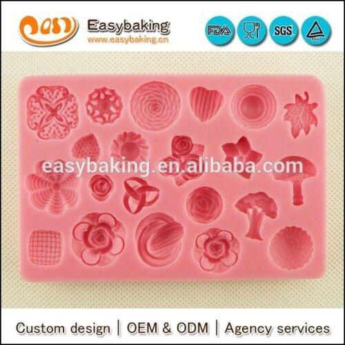 Multiple shapes cake decorating fondant silicone button mold
